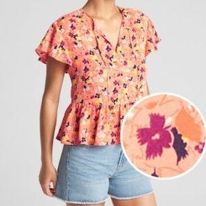 Short Sleeve Flounce Floral Top